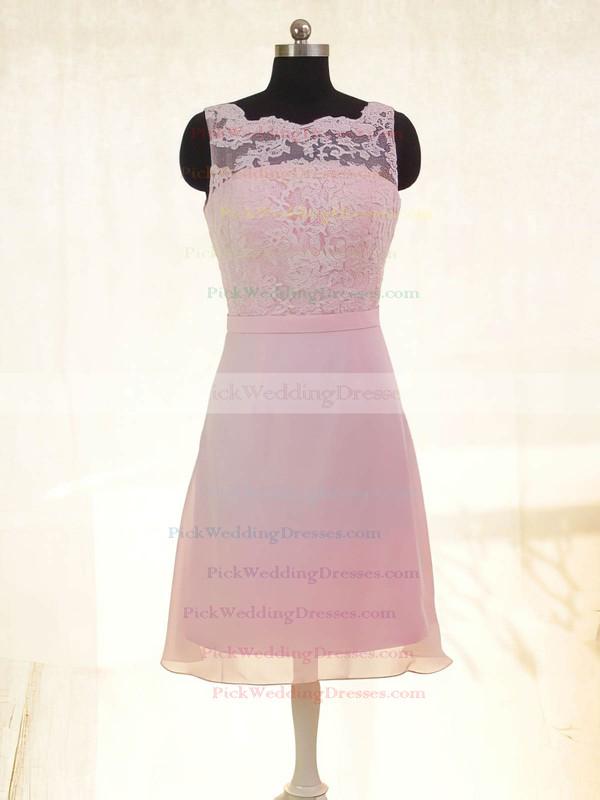 Sheath/Column Short/Mini Lace Chiffon Bow Square Neckline Bridesmaid Dresses #PWD02017878