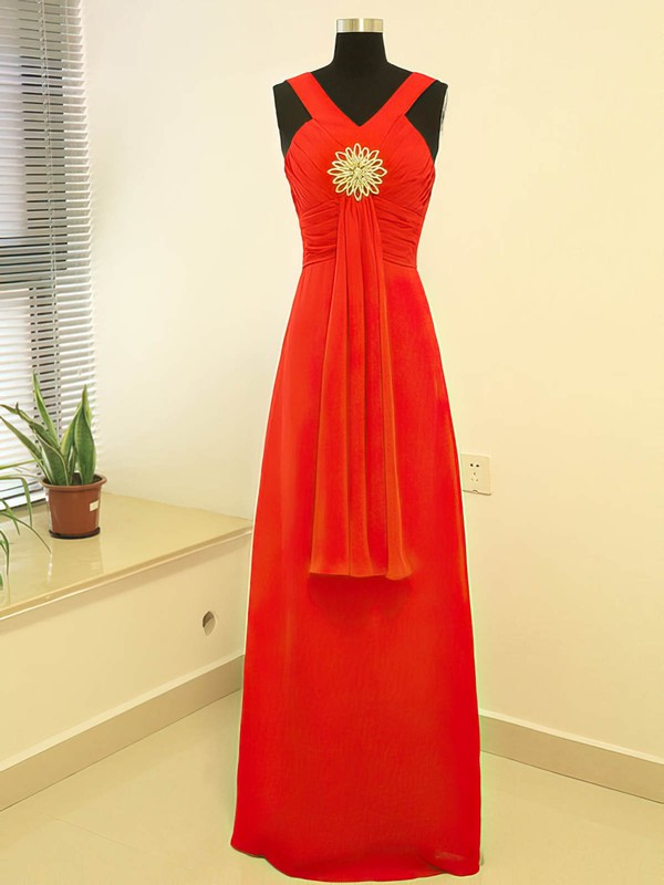Empire Floor-length Chiffon Crystal Brooch V-neck Bridesmaid Dresses #PWD02017882