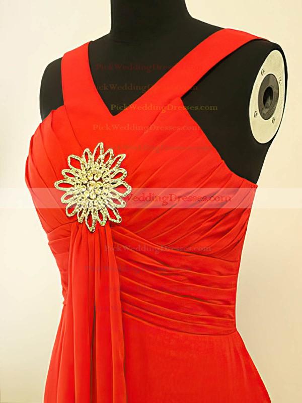 Empire Floor-length Chiffon Crystal Brooch V-neck Bridesmaid Dresses #PWD02017882