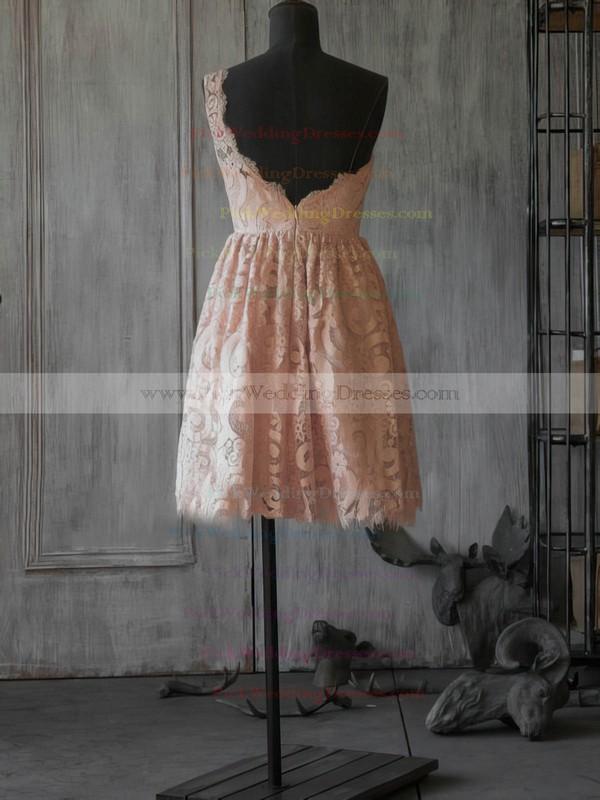 A-line Short/Mini Lace Ruffles One Shoulder Bridesmaid Dresses #PWD02017887
