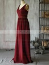 A-line Floor-length Chiffon Ruffles V-neck Bridesmaid Dresses #PWD02017889