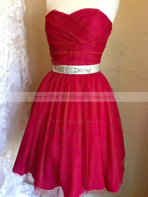 A-line Short/Mini Chiffon Beading Sweetheart Bridesmaid Dresses #PWD02017909
