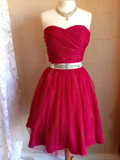 A-line Short/Mini Chiffon Beading Sweetheart Bridesmaid Dresses #PWD02017909