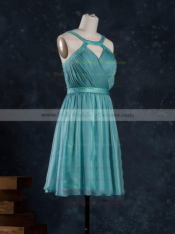 A-line Short/Mini Chiffon Sashes / Ribbons Scoop Neck Bridesmaid Dresses #PWD02017919