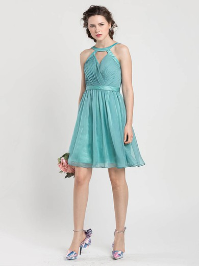 A-line Short/Mini Chiffon Sashes / Ribbons Scoop Neck Bridesmaid Dresses #PWD02017919