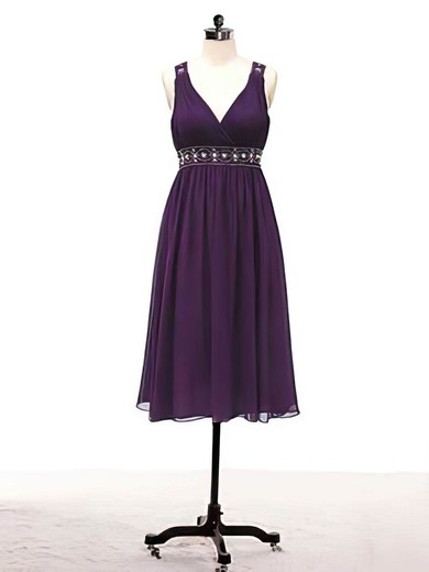 A-line Knee-length Chiffon Beading V-neck Bridesmaid Dresses #PWD02017715