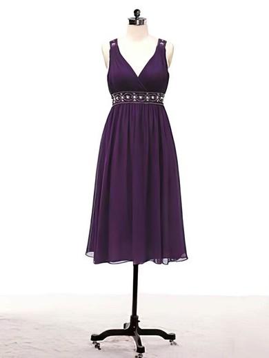 A-line Knee-length Chiffon Beading V-neck Bridesmaid Dresses #PWD02017715