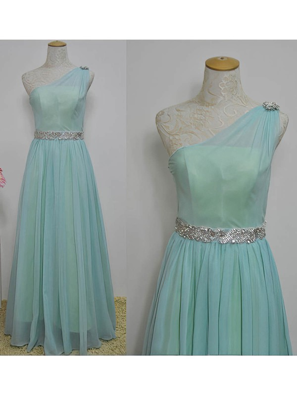 A-line Floor-length Chiffon Sashes / Ribbons One Shoulder Bridesmaid Dresses #PWD02017717