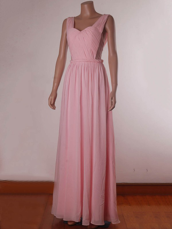 A-line Floor-length Chiffon Tulle Ruffles Sweetheart Bridesmaid Dresses #PWD02017734