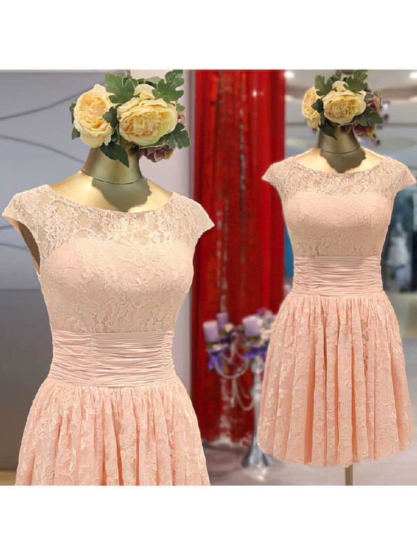 A-line Short/Mini Lace Flower(s) Scoop Neck Bridesmaid Dresses #PWD02017465