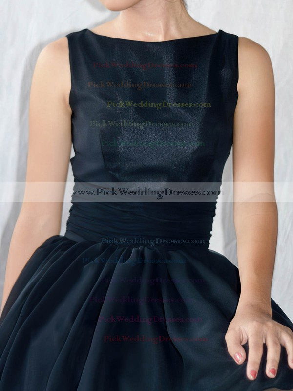 A-line Knee-length Chiffon Elastic Woven Satin Sashes / Ribbons Scoop Neck Bridesmaid Dresses #PWD02017493