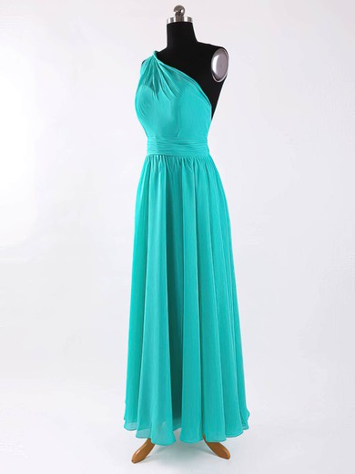A-line Floor-length Chiffon Sashes / Ribbons One Shoulder Bridesmaid Dresses #PWD02017625