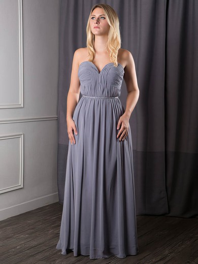 A-line Floor-length Chiffon Sashes / Ribbons Sweetheart Bridesmaid Dresses #PWD02017631