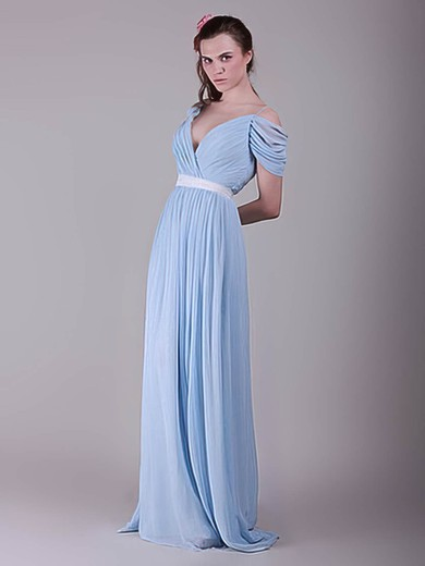 A-line Sweep Train Chiffon Sashes / Ribbons V-neck Bridesmaid Dresses #PWD02017655