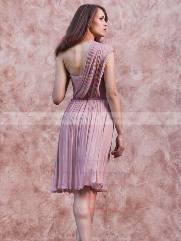A-line Short/Mini Chiffon Ruffles One Shoulder Bridesmaid Dresses #PWD02017657