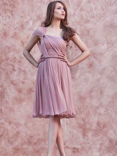 A-line Short/Mini Chiffon Ruffles One Shoulder Bridesmaid Dresses #PWD02017657