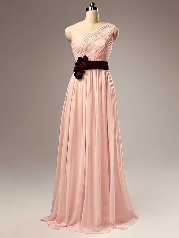 A-line Floor-length Chiffon Sashes / Ribbons One Shoulder Bridesmaid Dresses #PWD02017505