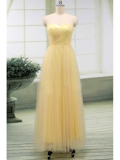 A-line Floor-length Tulle Ruffles Sweetheart Bridesmaid Dresses #PWD02017513