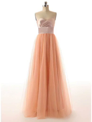 A-line Floor-length Tulle Sashes / Ribbons Sweetheart Bridesmaid Dresses #PWD02017528