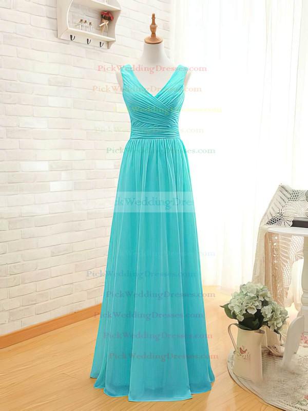 A-line Floor-length Chiffon Ruffles V-neck Bridesmaid Dresses #PWD02017535