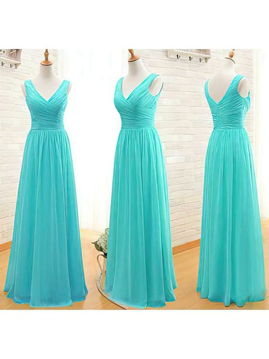A-line Floor-length Chiffon Ruffles V-neck Bridesmaid Dresses #PWD02017535