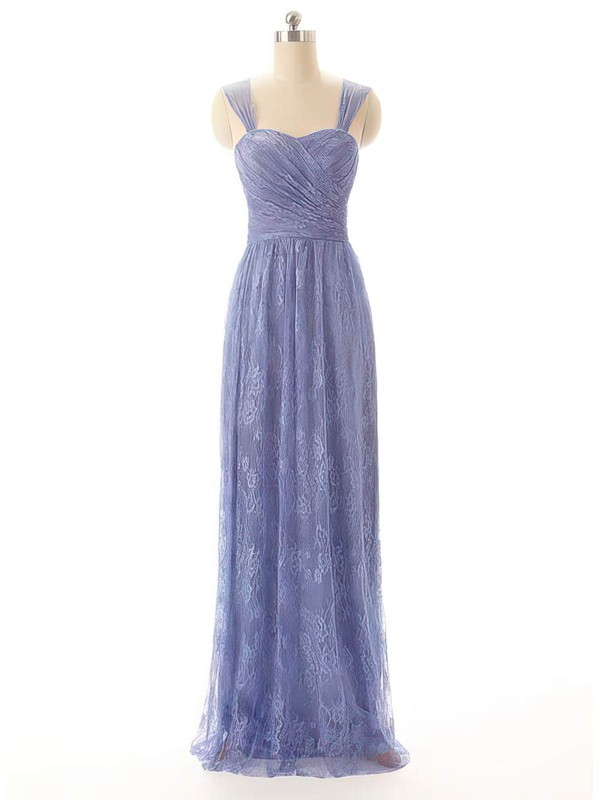 Sheath/Column Floor-length Lace Pleats Sweetheart Bridesmaid Dresses #PWD02017556