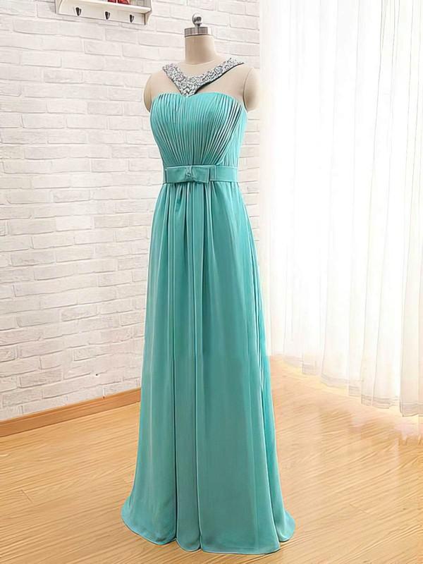 A-line Floor-length Chiffon Beading Square Neckline Bridesmaid Dresses #PWD02017565