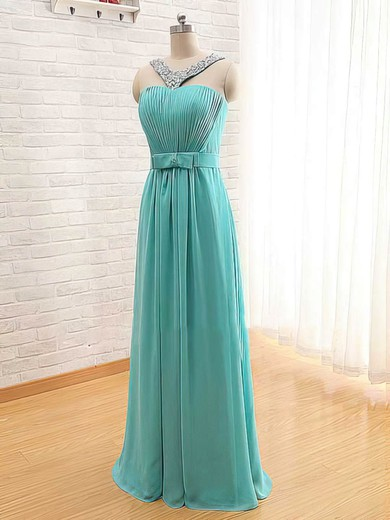 A-line Floor-length Chiffon Beading Square Neckline Bridesmaid Dresses #PWD02017565