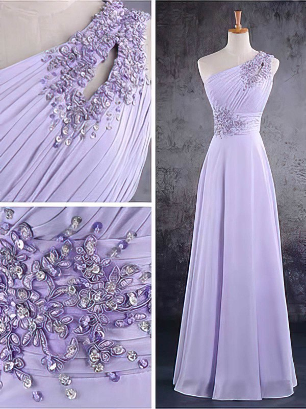 A-line Floor-length Chiffon Beading One Shoulder Bridesmaid Dresses #PWD02017584