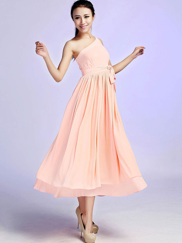 A-line Ankle-length Chiffon Sashes / Ribbons One Shoulder Bridesmaid Dresses #PWD02017685