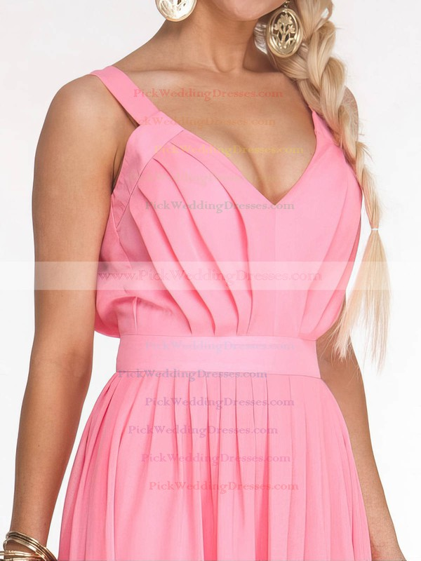 A-line Ankle-length Chiffon Sashes / Ribbons V-neck Bridesmaid Dresses #PWD02017686