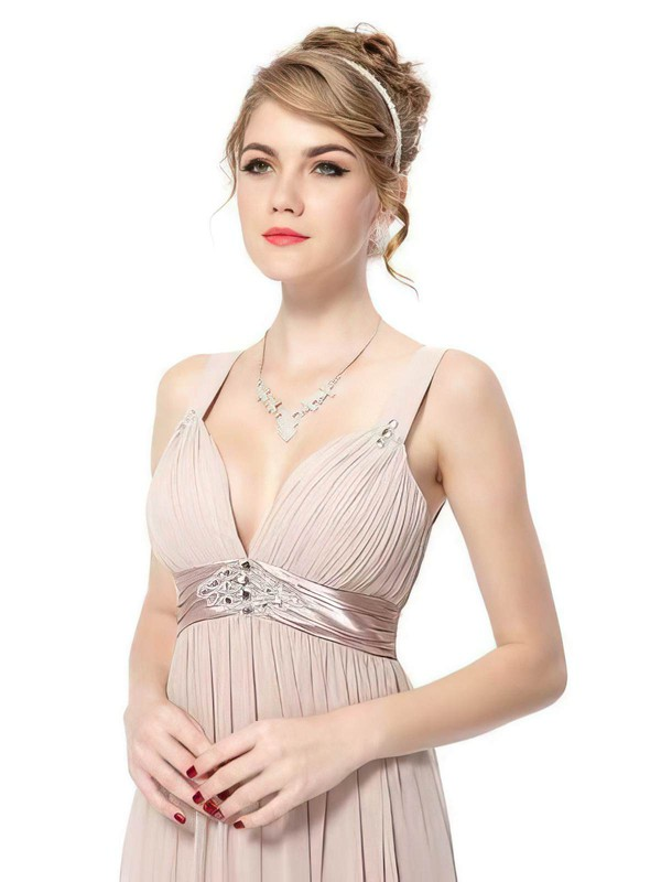 Empire Ankle-length Chiffon Sashes / Ribbons V-neck Bridesmaid Dresses #PWD02017689