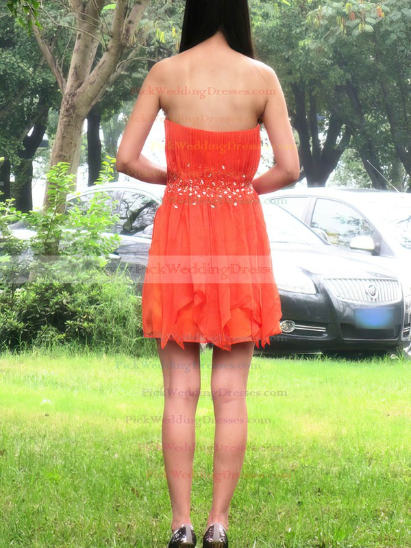 A-line Short/Mini Chiffon Ruffles Sweetheart Bridesmaid Dresses #PWD02017704