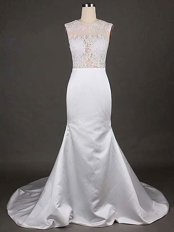 Scoop Neck Trumpet/Mermaid Amazing Satin Tulle Appliques Lace Wedding Dresses #PWD00021192
