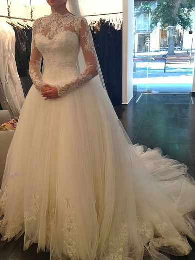 Boutique Ball Gown Ivory Chapel Train Tulle Lace Beading Long Sleeve Wedding Dress #PWD00021194