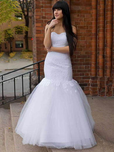 Affordable Trumpet/Mermaid Lace Tulle Appliques Lace Sweetheart Wedding Dress #PWD00021197