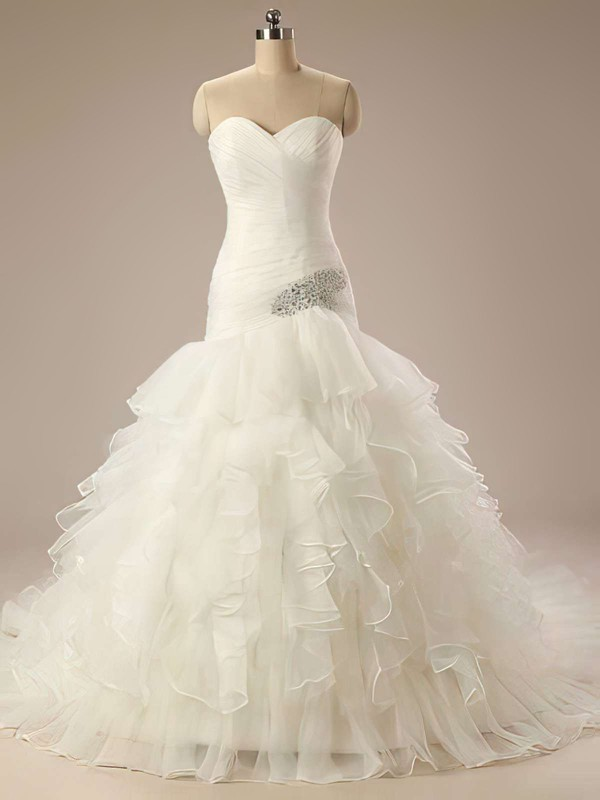 Glamorous Sweetheart Ivory Organza Tiered Trumpet/Mermaid Wedding Dresses #PWD00021199