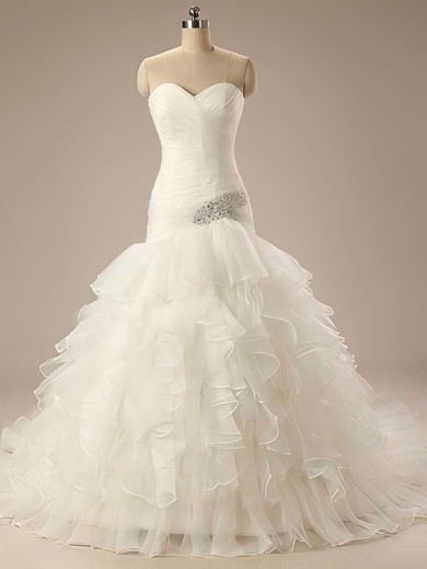 Glamorous Sweetheart Ivory Organza Tiered Trumpet/Mermaid Wedding Dresses #PWD00021199