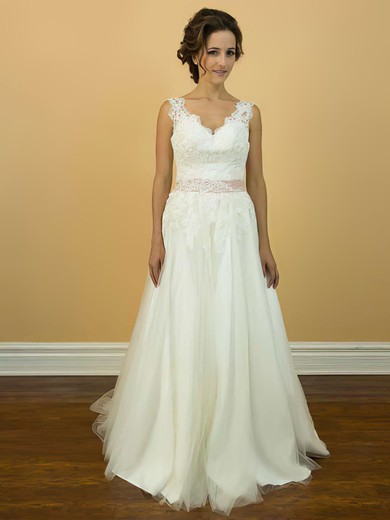 Modest V-neck Appliques Lace and Court Train Straps Ivory Tulle Wedding Dress #PWD00021200