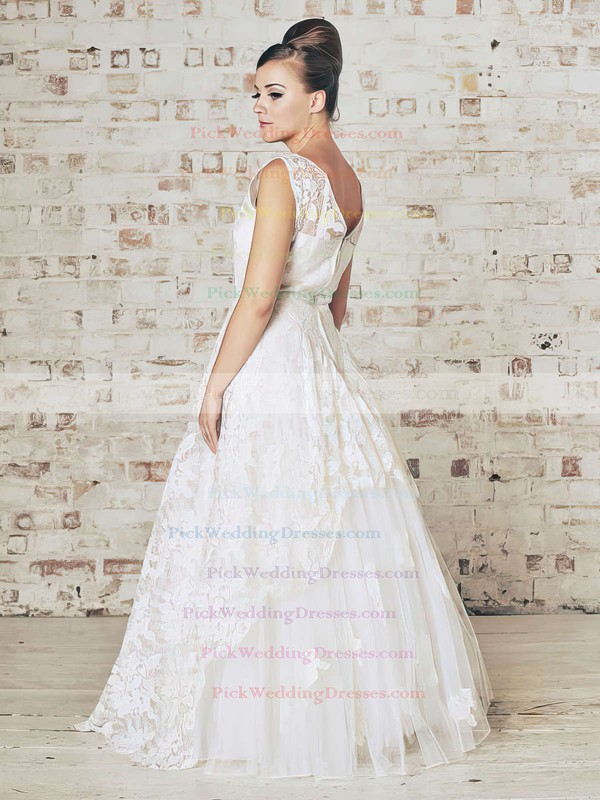 2016 White Scoop Neck and Floor-length Ball Gown Lace Wedding Dress #PWD00021201