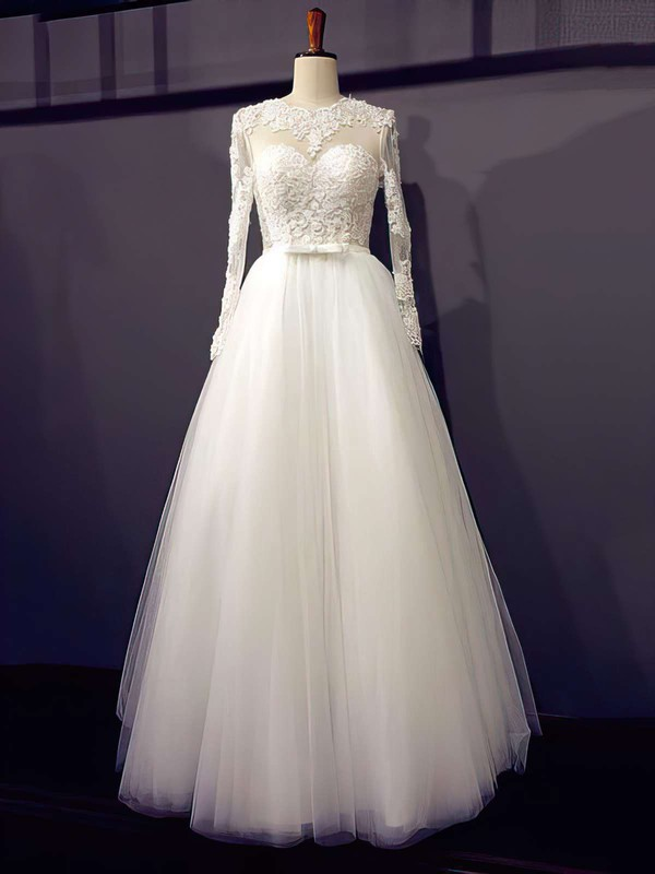 Designer Princess Scoop Neck Ivory Tulle Appliques Lace Long Sleeve Wedding Dresses #PWD00021203