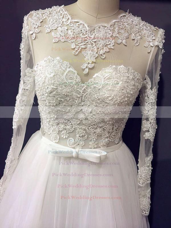 Designer Princess Scoop Neck Ivory Tulle Appliques Lace Long Sleeve Wedding Dresses #PWD00021203