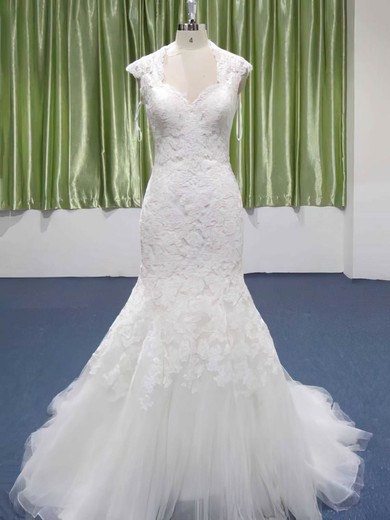 Sweetheart Trumpet/Mermaid Hot Lace Tulle Appliques Lace Wedding Dresses #PWD00021208