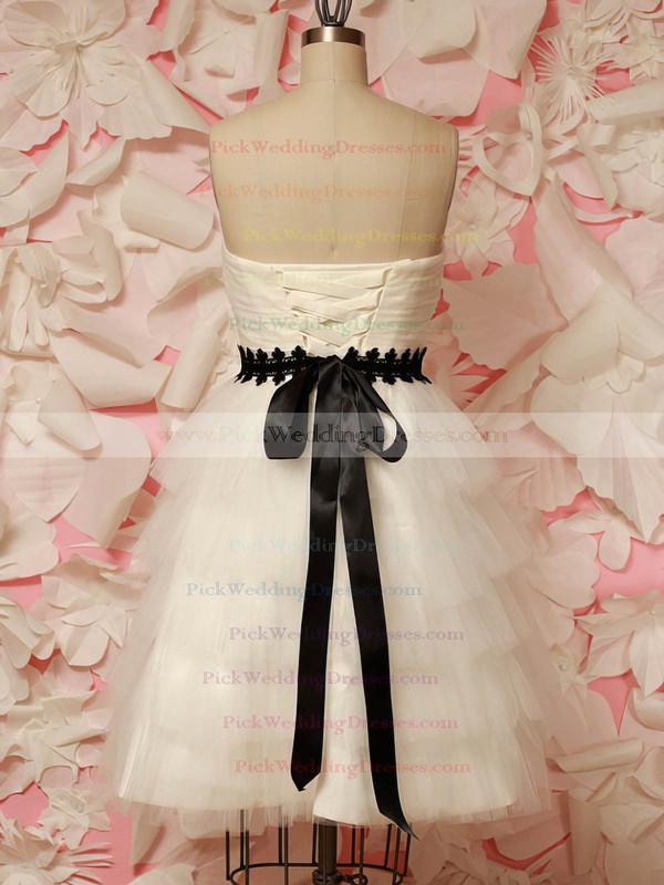 Ivory Tulle Sashes / Ribbons Sweetheart Lace-up Short/Mini Wedding Dresses #PWD00021212