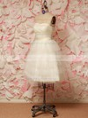 Ivory Tulle Sashes / Ribbons Sweetheart Lace-up Short/Mini Wedding Dresses #PWD00021212