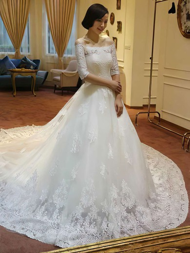 Boutique Princess Lace Tulle Off-the-shoulder Appliques Lace Wedding Dress #PWD00021213