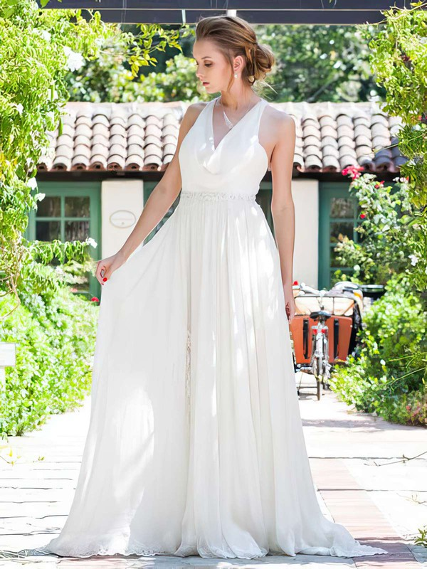 Unique Cowl Neck Appliques Lace A-line Straps Ivory Chiffon Wedding Dresses #PWD00021217