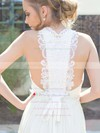 Unique Cowl Neck Appliques Lace A-line Straps Ivory Chiffon Wedding Dresses #PWD00021217