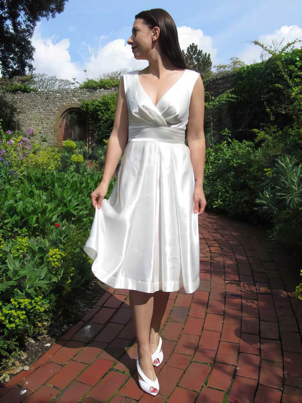 Tea-length Ivory V-neck Elastic Woven Satin Ruffles Cheap Wedding Dresses #PWD00021218
