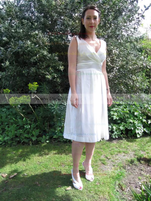 Tea-length Ivory V-neck Elastic Woven Satin Ruffles Cheap Wedding Dresses #PWD00021218